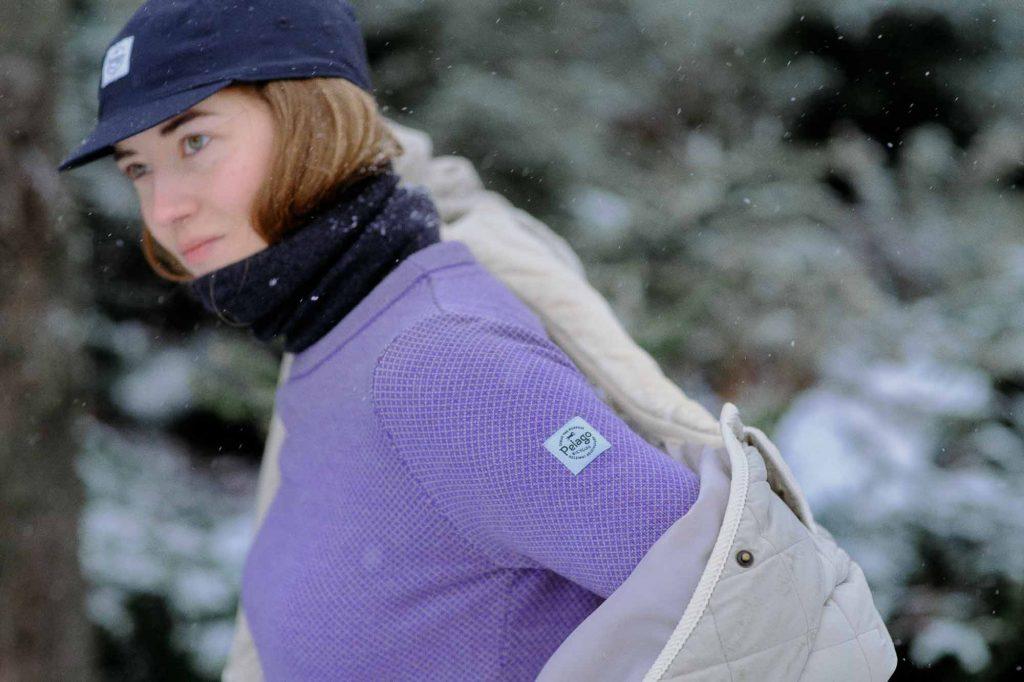 Violetti Pelago Merinovillapaita naisille on erinomainen valinta ulkoiluun.