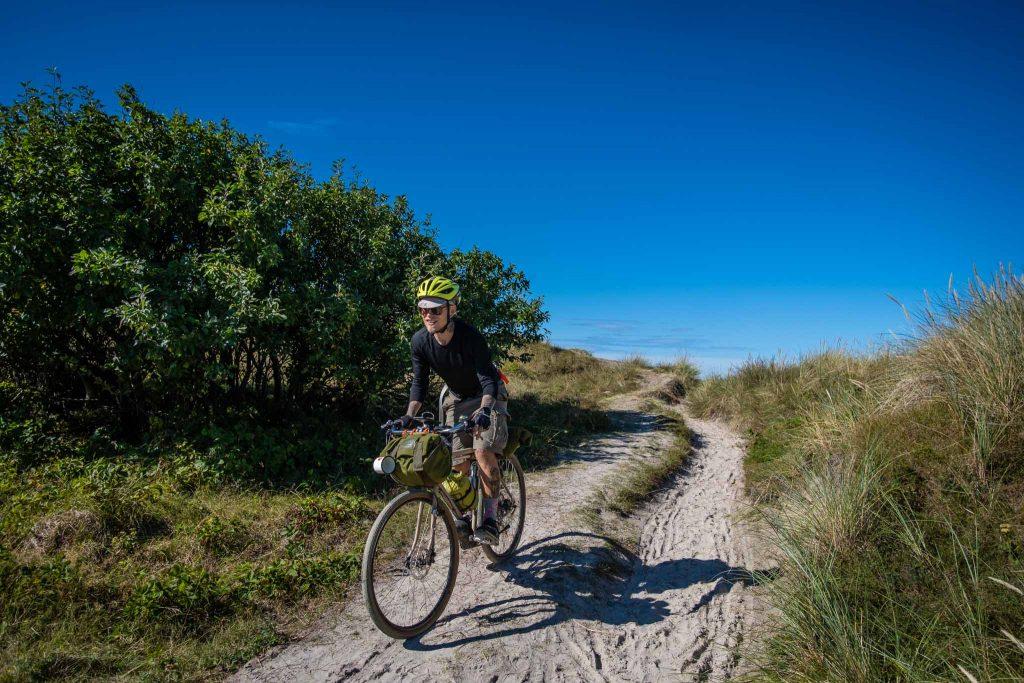 Alex Buck, Pelago Ambassador on a Bikepacking trip in Denmark.